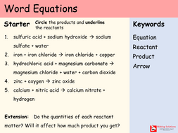 AQA Chapter 1 - Lesson 2 - Word Equations