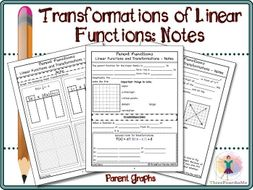Transformations Of Linear Functions Notes By Threefourthsme