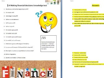 Edexcel GCSE Business 9-1 - Theme 2 - 2.4 Making financial decisions knowledge TEST + Answers