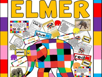ELMER THE ELEPHANT STORY TEACHING RESOURCES EYFS KS1 ENGLISH COLOURS LITERACY EARLY YEARS READING