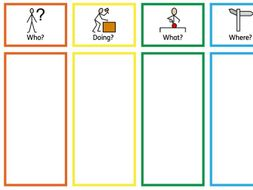 colour semantics who? doing? what? where? cards and boards with symbols