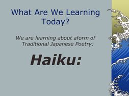 Hauki, Renga and Tanka Poetry Lesson Differentiated