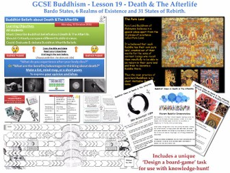 GCSE - Buddhism -Death & the Afterlife [Afterlife, Bardo, 6 Realms, 31 States]  [FREE LESSON]