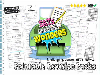 "SATs Maths Revision Pack  KS2  -  ""One Page Wonder! SATs Coach 2017"""