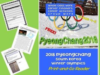 FREEBIE! PyeongChang 2018 Winter Olympics - Print 'n Go Cross-Curricular Unit