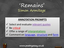 Simon Armitage – 'Remains' – Annotation / Planning Table / Questions / Booklet