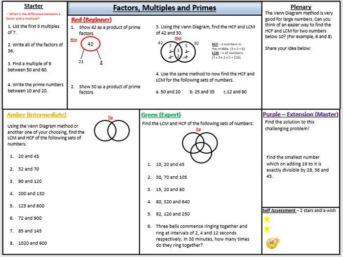hcf and lcm homework tes