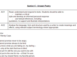 33 Unseen Poems with questions and assessment objectives