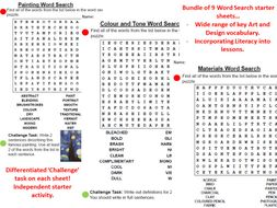 Art Vocab Wordsearch - 9 Differentiated Worksheets - Starter/ Independent Literacy Task