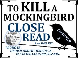 To Kill a Mockingbird Close Reading Worksheet - Chapter 1