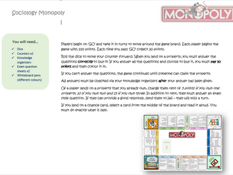 Sociology A Level revision - Monopoly game