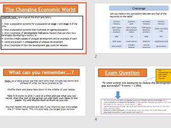 AQA GCSE CHANGING ECONOMIC WORLD: Assessment + Feedback (Lesson + Resources)