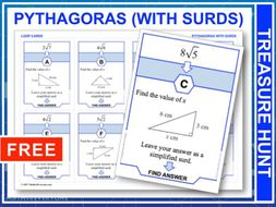 Pythagoras with Surds  (Treasure Hunt)