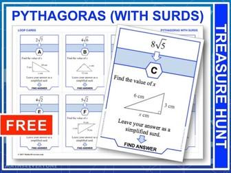 Pythagoras with Surds  (Treasure Hunt)