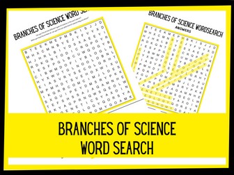 Branches of science wordsearch