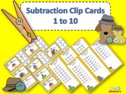 Subtraction Facts Clip Cards for 1 to 10 - DETECTIVES