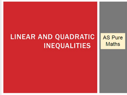 AS Pure Maths: Linear and Quadratics Inequalities  (Whole Topic)
