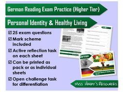 GCSE German - Reading Question Pack - Personal Identity & Healthy Living - AQA/OCR/Edexcel/iGCSE/WJE