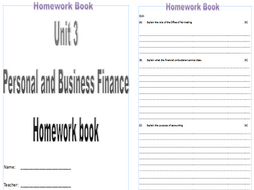 btec business unit personal business finance homework btec business 2016 unit 3 personal business finance homework book by farreramanda teaching resources tes