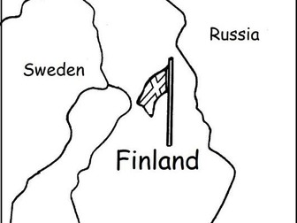 FINLAND - Printable handout with map and flag