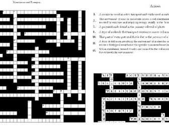4. Membranes and Transport Crossword: Text Documents and Interactive Webpages