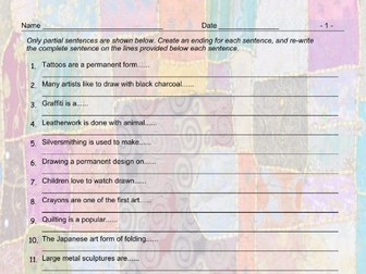 Art Forms Sentence Finishers Worksheet and Answer Key