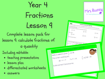 9. Fractions: calculate fractions of amounts lesson pack (Y4)