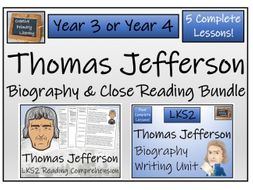 LKS2 - Thomas Jefferson Reading Comprehension & Biography Bundle