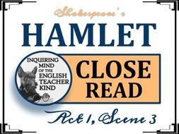 Shakespeare's Hamlet: Close Read for Act 1, Scene 3