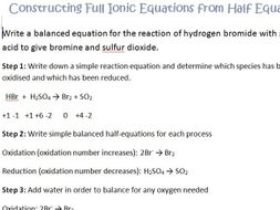 Redox Constructing half equations and ionic equations