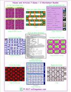 Nouns and Articles 7 Game Plus 2 Worksheet Bundle