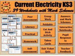 Current Electricity KS3 - 39 Worksheets/Homeworks