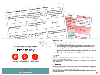 Probability (Always, Sometimes, Never)