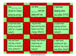 Past Perfect Continuous Tense Cards 4 Pages = 36 Cards
