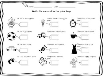 Year 1 / Year 2 money read and write prices 3 differentiated worksheets