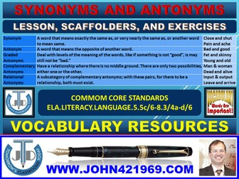 SYNONYMS AND ANTONYMS: LESSON PLAN AND RESOURCES | Teaching Resources