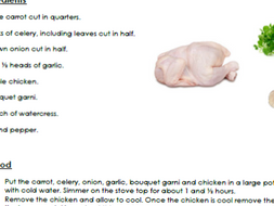 The Tale of Despereaux- Recipe for chicken garlic and watercress soup