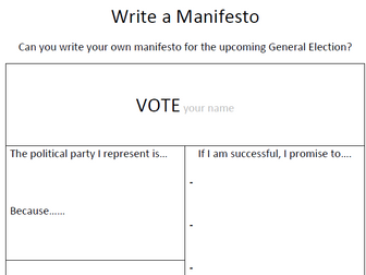 write a manifesto election government politics by chriswat