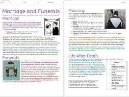 Judaism: Marriage, Funerals and Mourning: Differentiated Information and Task Sheets
