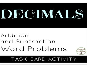 Decimals: Word problems with addition and subtraction of Decimals
