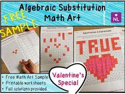 Algebraic Substitution Math Art Worksheets