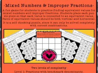 Magic Puzzle Boards Mixed Numbers and Improper Fractions