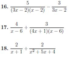 Six worksheets on adding and subtracting algebraic fractions (with solutions)