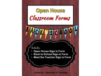 FREE - Open House, Back to School & Meet the Teacher Sign In Sheets