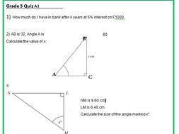 Maths GCSE quiz sheets at grade 5