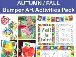 Autumn/Fall Colouring Pages - Leaves, Acorns and Apples