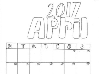 April Calendar Organiser and Colouring Sheet