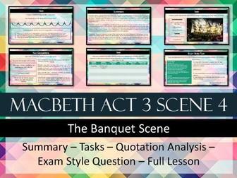 Macbeth Act 3 Scene 4 Banquet Scene Lesson