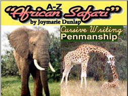 """African Safari"" Cursive Penmanship A-Z"