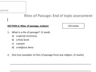 Rites of Passage Ks3 Assessment